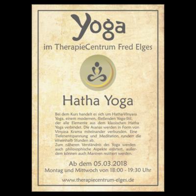Flyer des Hatha Vinyasa Yoga-Kurses im TherapieCentrum Fred Elges Herne