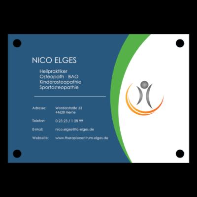 Schild von Nico Elges im TherapieCentrum Fred Elges Herne