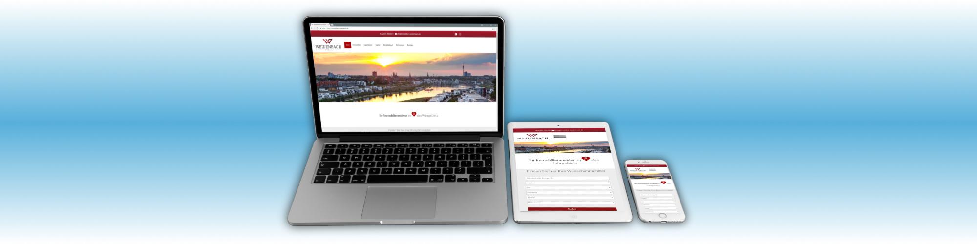 Webdesign für Weidenbach Immobilien Herne, einem Immobilienmakler und Finanzierungsexperten