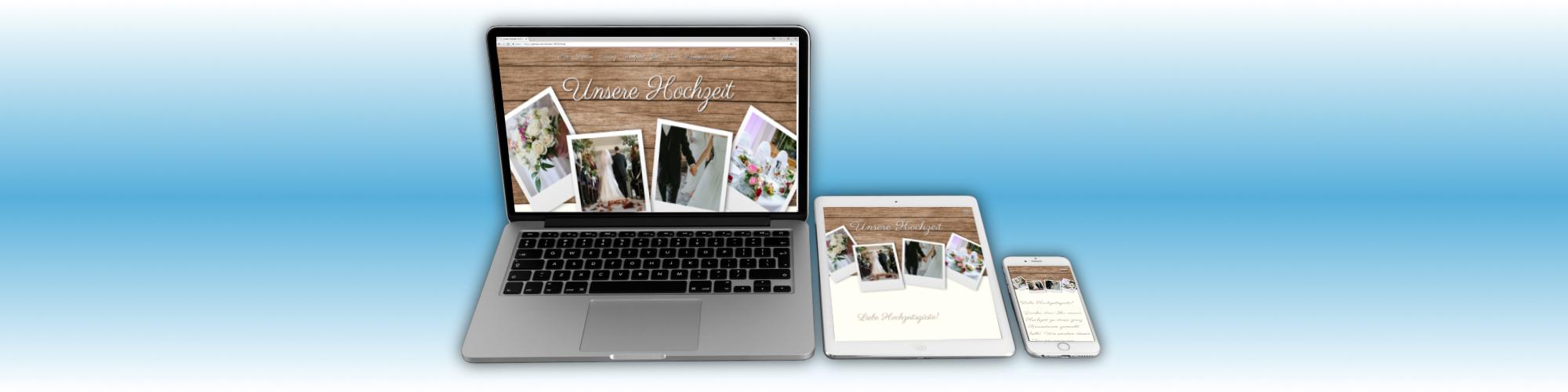 Webdesign für eine private Hochzeitswebseite