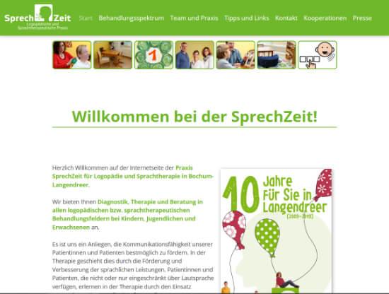 Die Webseite von SprechZeit Bochum
