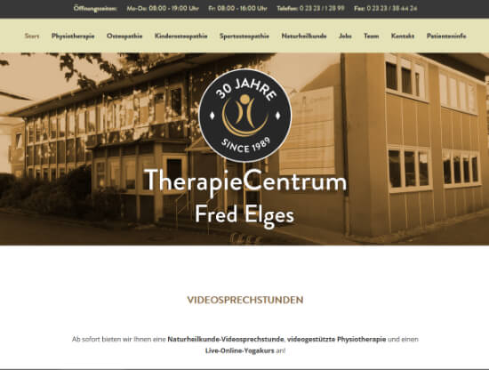 Die Webseite des TherapieCentrum Fred Elges