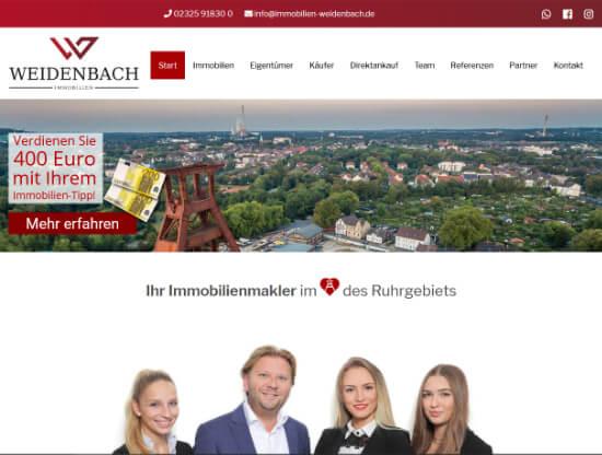 Die Webseite von Weidenbach Immobilien